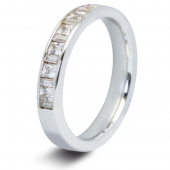 9ct White 0.75ct Baguette & Princess HSI Diamond Half Eternity Ring - 3.1mm Band