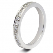 9ct White 0.33ct Brilliant HSI Diamond Eternity Ring - 1.8mm Band - Claw Set