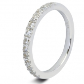9ct White 0.50ct Brilliant HSI Diamond Eternity Ring - 2.2mm Band - Claw Set