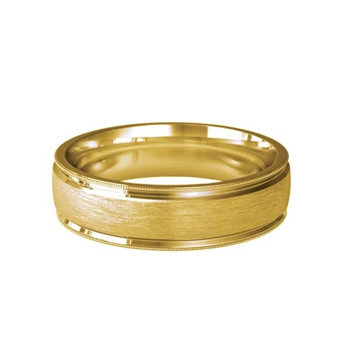 Patterned Designer Yellow Gold Wedding Ring - Siempre
