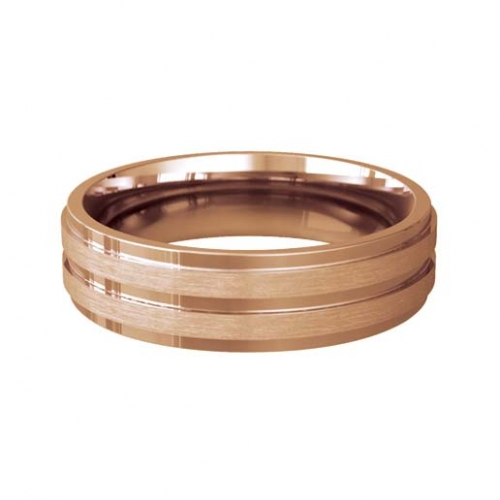 Patterned Designer Rose Gold Wedding Ring - Miele
