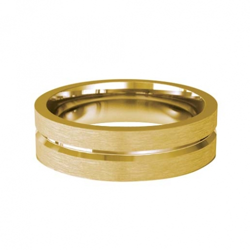 Patterned Designer Yellow Gold Wedding Ring - Amore