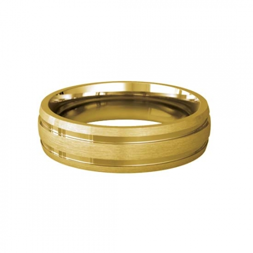 Patterned Designer Yellow Gold Wedding Ring - Dedique