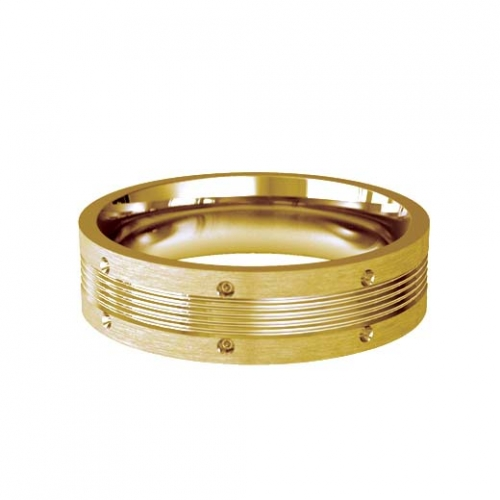 Patterned Designer Yellow Gold Wedding Ring - Vicino