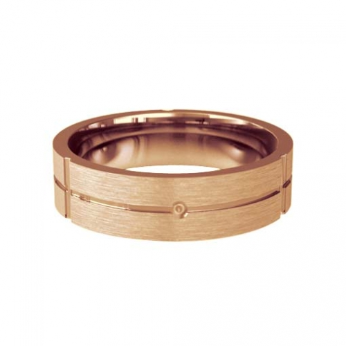Patterned Designer Rose Gold Wedding Ring - Carino