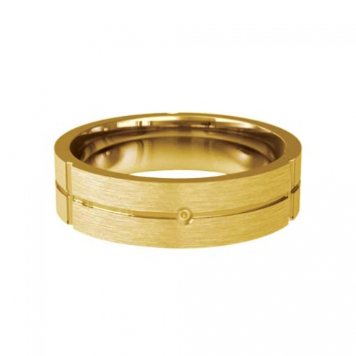 Patterned Designer Yellow Gold Wedding Ring - Carino