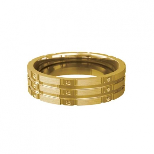 Patterned Designer Yellow Gold Wedding Ring - Stelle