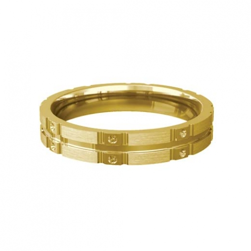 Patterned Designer Yellow Gold Wedding Ring - Similie