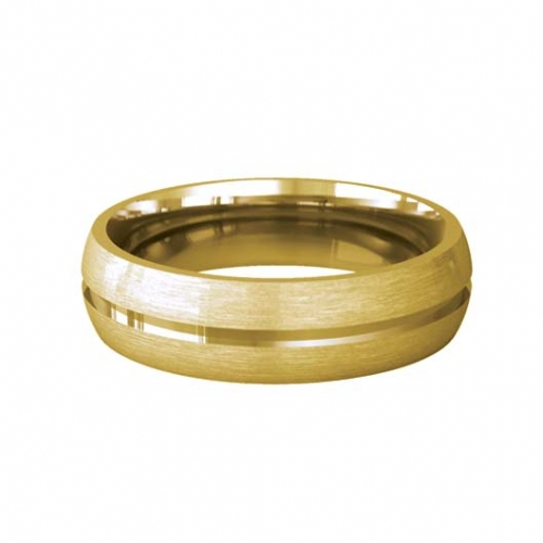 Patterned Designer Yellow Gold Wedding Ring - Luna