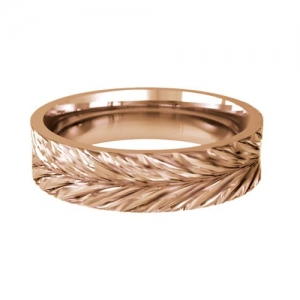 Patterned Designer Rose Gold Wedding Ring - Amo
