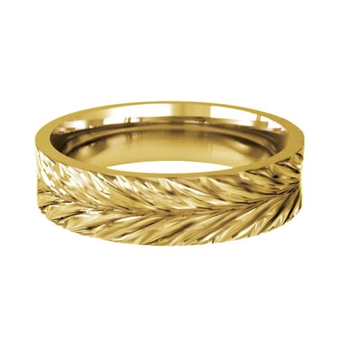Patterned Designer Yellow Gold Wedding Ring - Amo