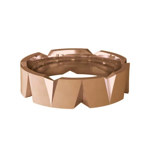 Patterned Designer Rose Gold Wedding Ring - Roce