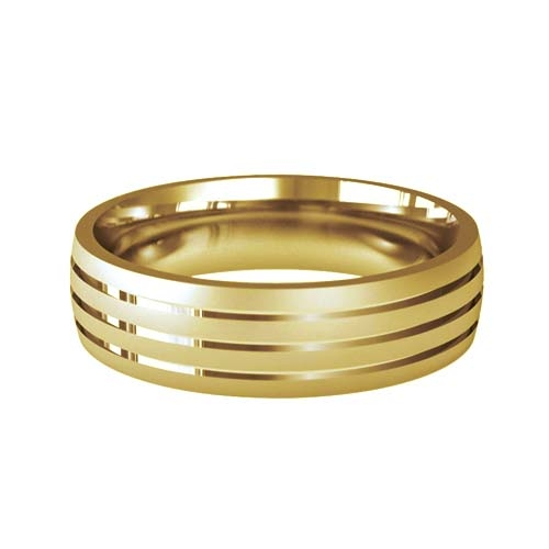 Patterned Designer Yellow Gold Wedding Ring - Foveo