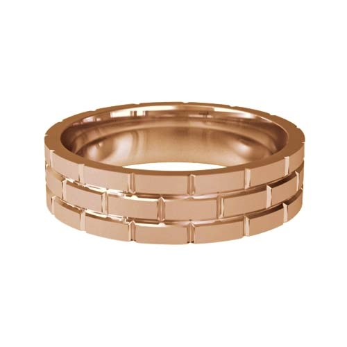 Patterned Designer Rose Gold Wedding Ring - Toque