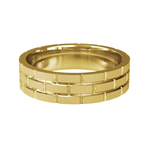 Patterned Designer Yellow Gold Wedding Ring - Toque