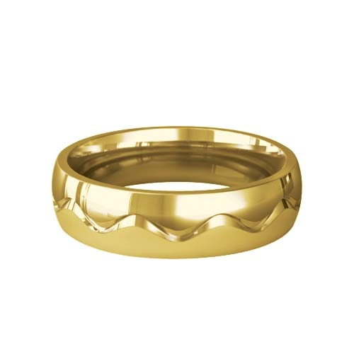 Patterned Designer Yellow Gold Wedding Ring - Desir