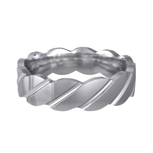 Patterned Designer White Gold Wedding Ring - Tenere