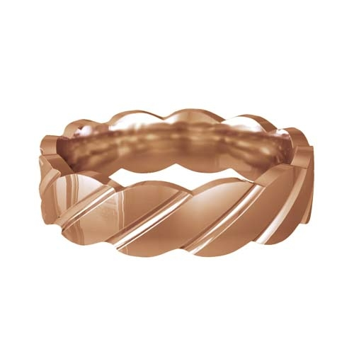 Patterned Designer Rose Gold Wedding Ring - Tenere