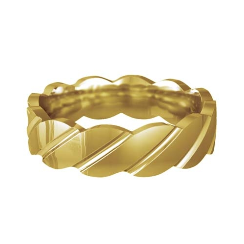Patterned Designer Yellow Gold Wedding Ring - Tenere