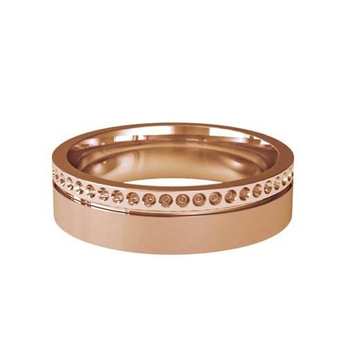 Patterned Designer Rose Gold Wedding Ring - Poeme