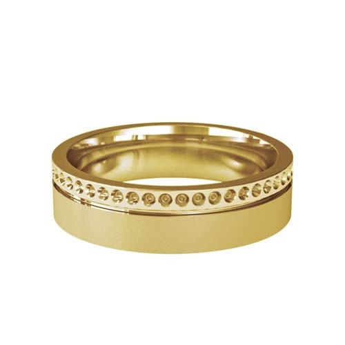 Patterned Designer Yellow Gold Wedding Ring - Poeme
