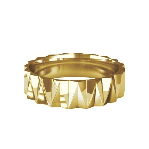Patterned Designer Yellow Gold Wedding Ring - Ignis