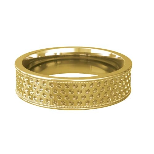 Patterned Designer Yellow Gold Wedding Ring - Complex