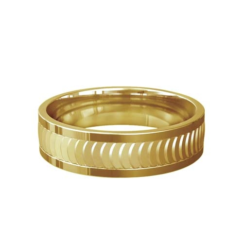 Patterned Designer Yellow Gold Wedding Ring - Lusso