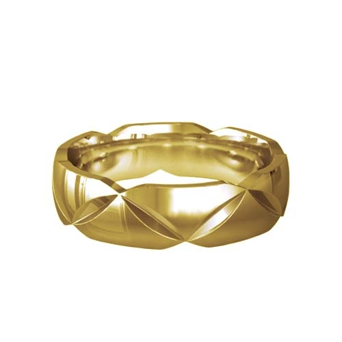 Patterned Designer Yellow Gold Wedding Ring - Basium