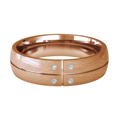 Patterned Designer Rose Gold Wedding Ring - Solido