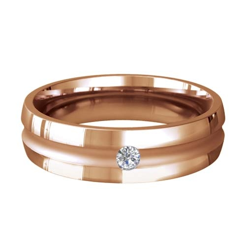 Patterned Designer Rose Gold Wedding Ring - Encanto