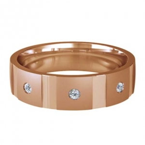 Patterned Designer Rose Gold Wedding Ring - Contatto