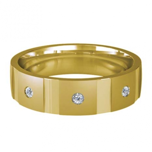 Patterned Designer Yellow Gold Wedding Ring - Contatto