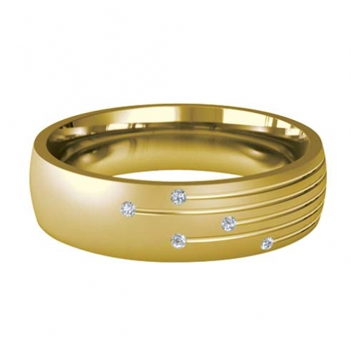 Patterned Designer Yellow Gold Wedding Ring - Motum