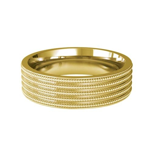 Patterned Designer Yellow Gold Wedding Ring - Contineo