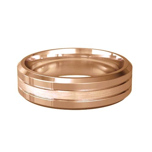 Patterned Designer Rose Gold Wedding Ring - Pietas