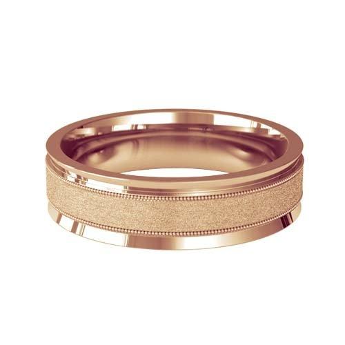 Patterned Designer Rose Gold Wedding Ring - Deseo
