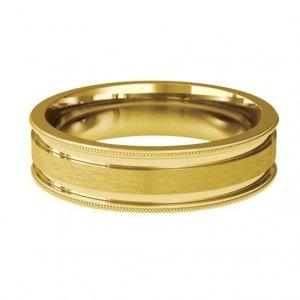 Patterned Designer Yellow Gold Wedding Ring - Espacio