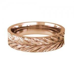 Patterned Designer Rose Gold Wedding Ring - Amo