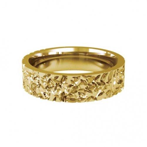 Patterned Designer Yellow Gold Wedding Ring - Abrazo