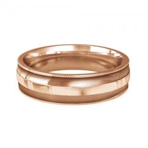 Patterned Designer Rose Gold Wedding Ring  - Amado