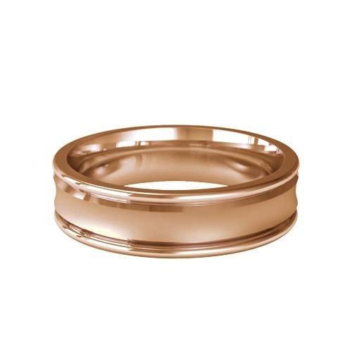 Patterned Designer Rose Gold Wedding Ring - Caresse