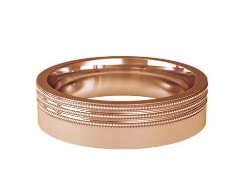 Patterned Designer Rose Gold Wedding Ring - Carmen