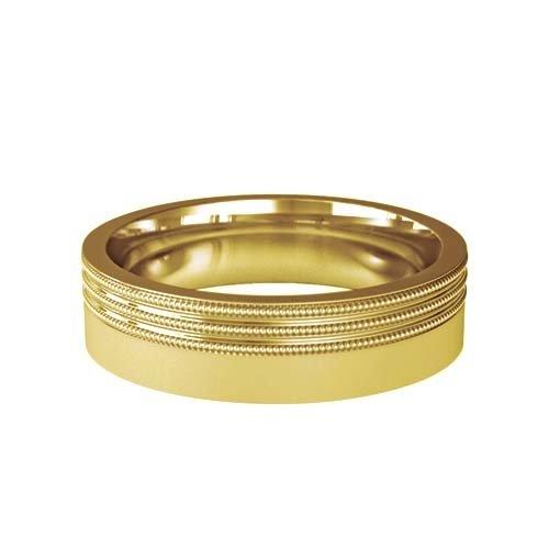Patterned Designer Yellow Gold Wedding Ring - Carmen