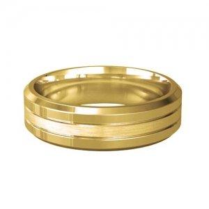 Patterned Designer Yellow Gold Wedding Ring - Pietas