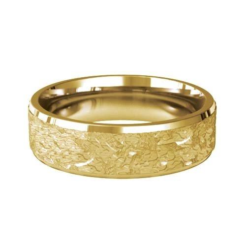Patterned Designer Yellow Gold Wedding Ring - Orexis