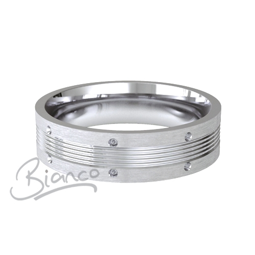 Patterned Designer White Gold Wedding Ring - Vicino