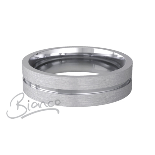 Carezza 3 to 6mm Flat Court 18ct White Gold Wedding Ring