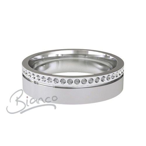 Patterned Designer White Gold Wedding Ring - Poeme