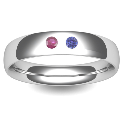 Birthstone Wedding Ring Court 3-8mm (TBTCH18W) 18ct White Gold